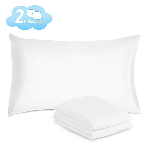 iHomy Pillow Cases Queen Size Set of 2 - 100% Brushed Microfiber Envelope Closure End Pillow Covers, Ultra Soft White Pillowcases- Reduce Allergies for Excellent Sleeping Experience (White)