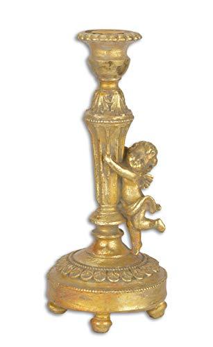 Decoratie Deko Kerzenständer Kerzenhalter Engel Putte Antik-Look Polyresin 25 cm