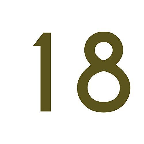 Zahlenaufkleber Nummer 18, Gold, 10cm (100mm) hoch, Aufkleber mit Zahlen in vielen Farben + Höhen, wetterfest