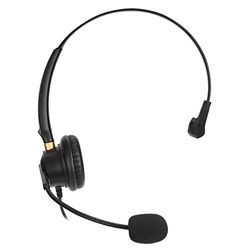 Auriculares con cable de 2,5 mm con micrófono con cancelación de ruido para teléfonos fijos o teléfonos inalámbricos Dect con conector para auriculares de 2,5 mm, para empresas, centros de llamadas, c