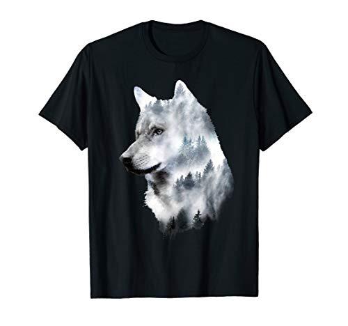 Wolf-Doppelbelichtungs-surreales Tier wölbt Geschenke T-Shirt