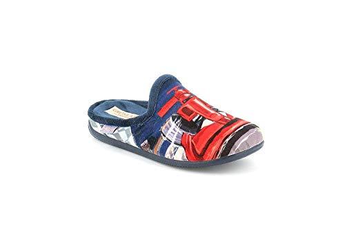 GRUNLAND Pantofola Junior-fleece met blauw voetbed en antislip design (38 EU)