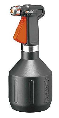 Pulverizador de 1l city gardening de GARDENA para balcón: rociador con pulverización extrafina, gran orificio de llenado, diseño de acero inoxidable negro, con indicador de estado de llenado (806-20)