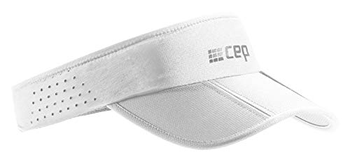 CEP – RUNNING VISOR | Leichte faltbare Visor Cap mit Sonnenschutz und gebogenem Sonnenschild in weiß in unisex in one size