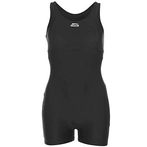 Slazenger Damen Boyleg Badeanzug mit Bein Schwimmanzug Bademode Schwimmen Strand Schwarz 10 (S)