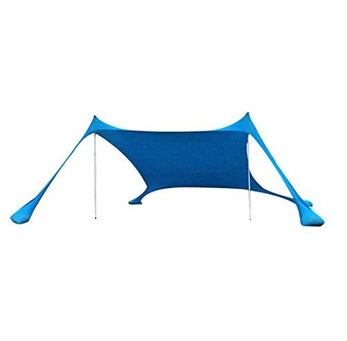 YQ&TL Toldo de Playa Carpa Toldo de Sol Pérgola Camping de Pesca al Aire Libre Tienda de Sombra Integrada con 4 Sacos de Arena y 2 Postes Aluminio, 210 * 210 * 170 cm Blue