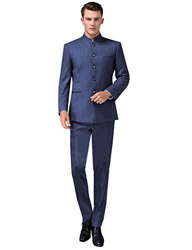 P&G Hombre Traje de túnica de un Solo Pecho Cuello Alto Dos Piezas Esmoquin de Fiesta de Boda