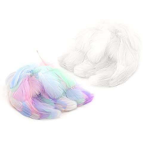400PCS Colorful Feathers White Feathers Crafts Natural Goose Feathers Dream Catchers Feather for DIY Dream Catchers Wedding Party Earrings Decorations