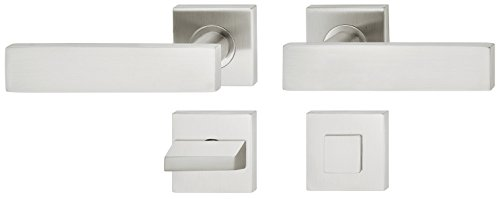 Moderner Tür-Griff Rosette quadratisch Türklinke Edelstahl Drückergarnitur für Zimmertüren | LDH 2187 | BAD - Badezimmer | Edelstahl matt gebürstet | 1 Garnitur eckig - Design Türbeschläge Innentüren