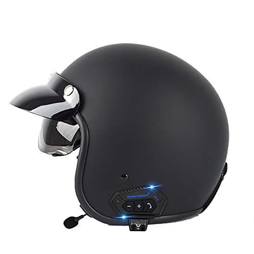 HYRGLIZI Cascos de Motocicleta con Bluetooth, Casco de Moto de Cara Abierta 3/4 Medios Cascos, Estilo Retro Vintage con Visera para el Sol Casco de Moto Vespa Jet Aprobado por Dot para niños, jóvenes