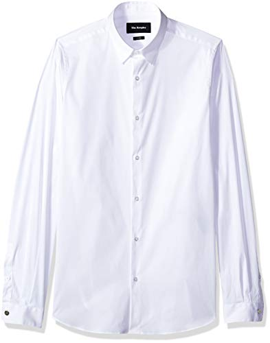 The Kooples Men's Men's Stretch Cotton Poplin Shirt with a Stand-Up Collar, White, XS
