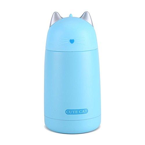 Botella de agua aislada al vacío para viajes, diseño de gato, con dibujos animados