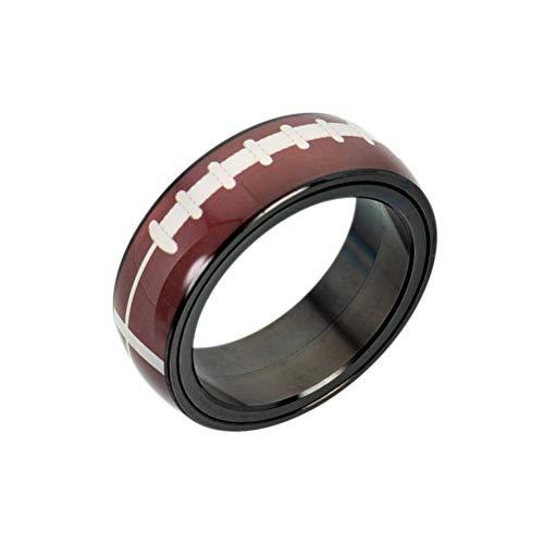BESTOYARD anel de rúgbi aço titânio esportes ao ar livre spinner anéis rotacionável Rugby Band - No.9