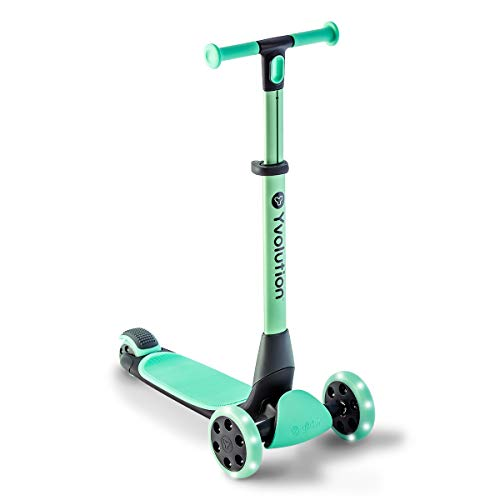 Yvolution Y Glider Nua   Three Wheel Foldable Kick Scooter for Kids with Storage Accessory for Children Ages 3+ Years Teal