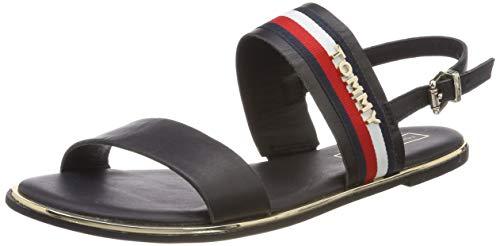 Tommy Hilfiger Damen Flat Sandal Corporate Ribbon Zehentrenner, Blau (Midnight 403), 36 EU