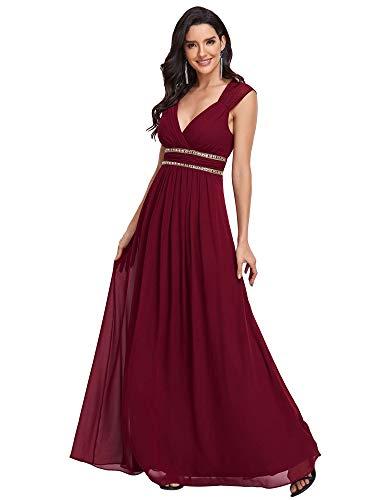 Ever-Pretty Womens Floor Lenth Short Sleeve Graduation Dress 4 US Burgandy
