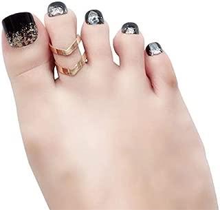 24pcs Glitter Fake Toenails Short False Toenails for Women Acrylic Toe Nail Tips Full Cover Feet Nails Stick On Toenails