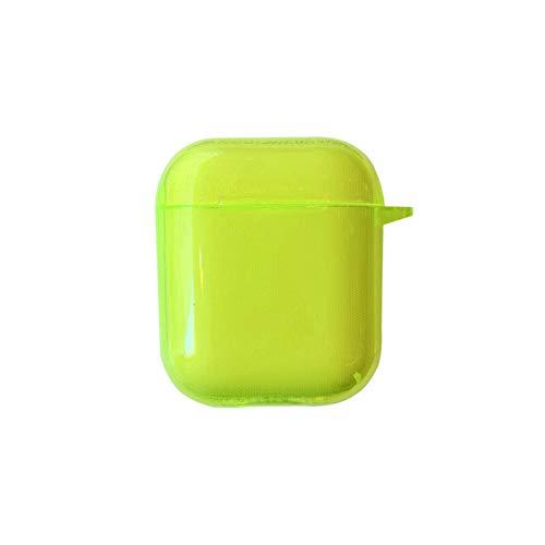HuaShslt Moda Fluorescente Amarillo para Airops Funda Bluetooth Funda Auricular para Poders De Aire 2 Cubierta De Caso Funda Suave Transparente Capa Airopd Personalizada Caso de Las cápsulas de Aire