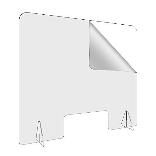 36'W-32'H Sneeze Guard Shield,Large Plexiglass Barrier Shield for Counter and Desk, Crystal Clear Acrylic Shield with 6' Tall Opening for Business, Cashier, and Restaurants