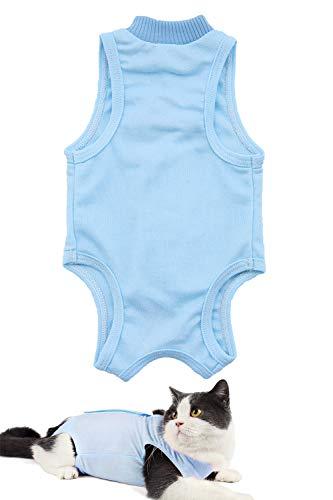 AEITPET Recovery Suit Katze, Haustiere Schutz Kleidung Wiederherstellung Anzug Weste, Verhindern Lecken Nach der Operation Tragen Weaning und Warmhalte Recovery Tuch Anzug für Katzen Hunde (S, Blau)