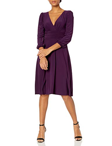 Eliza J Women's Faux Wrap Fit and Flare Midi Casual Dress, Aubergine, 4