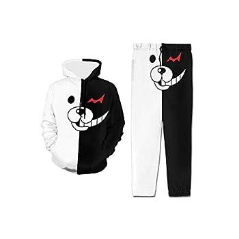 Danganronpa Half Monokuma Hoodie and Sweatpants Athletic Sweatshirt Set for Boys Girls Youth Black