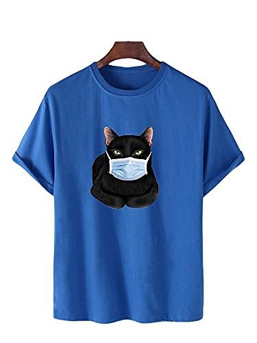 Hombres Manga Corta Verano Casual Cuello Redondo Creativo Hombres Streetwear Gato Impresión 3D Loose Wicking Transpirable Hombres Shirt Deportiva Fiesta Hombres Camiseta C-Blue 1 3XL