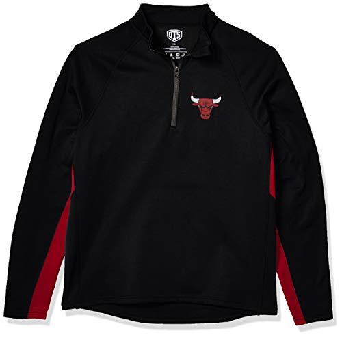 OTS NBA Chicago Bulls Men's Poly Fleece 1/4-Zip Pullover, Logo, Large