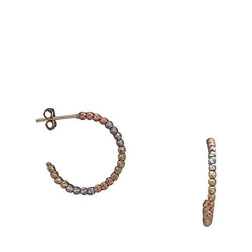 Pendientes de aro para mujer de 585/-14 quilates, tricolor, diseño Dorica