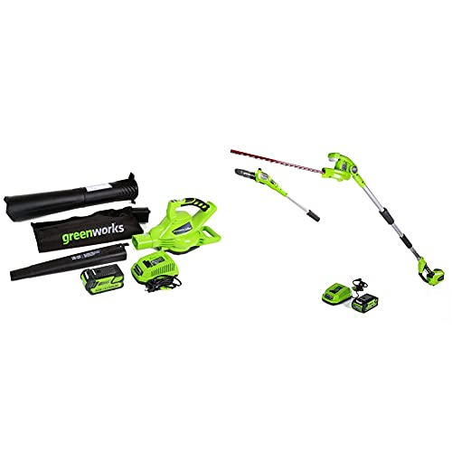 Greenworks 40V 185 MPH Variable Speed Cordless Leaf Blower/Vacuum & 40V 8-inch Cordless Pole Saw with Hedge Trimmer Attachment 2.0Ah Battery and Charger Included, PSPH40B210