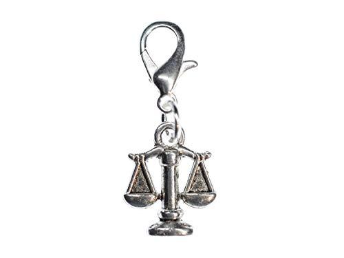 MiniblingsWaage Justitia Sternzeichen Horoskop Charm - Handmade Modeschmuck I Anhänger Bettelanhänger für Armband I Kettenanhänger versilbert - Wiegen Libra