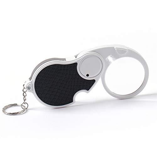 MOPOIN Handtaschenlupe, 5 Fache Lupe mit Licht Taschenlupe mit Licht, Zusammenklappbare, Rutschfeste Schale für Senioren Juwelier Handwerk Kleingedruckten