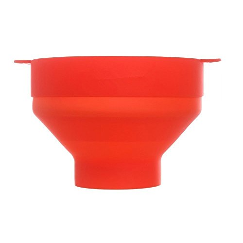 Karp Microwave Silicone Popcorn Maker Collapsible Bowl With Lid & Convenient Handles - Red