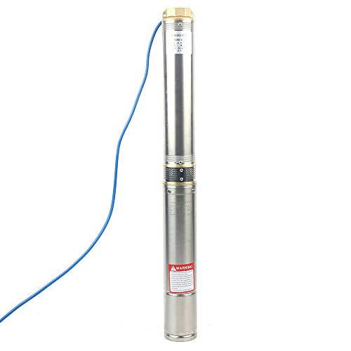 Bomba para pozos profundos, 1100 W, 230 V, 9000 l/h, 34 m, 4 pulgadas, acero inoxidable, sumergible