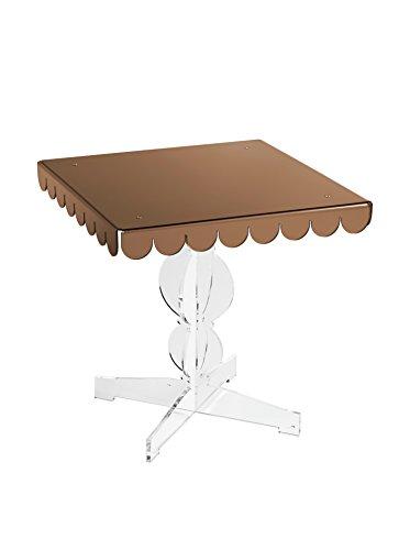 Emporium tavolino Quadrato in metacrilato Trasparente e ripiano in metacrilato specchiato nei Colori Argento, Oro, Bronzo