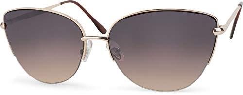 styleBREAKER Gafas de sol de ojo de gato para damas, forma de mariposa, gafas de aviador con bisagra de resorte, media llanta 09020066, color:Dorado montura/Marrón vidrio corrido