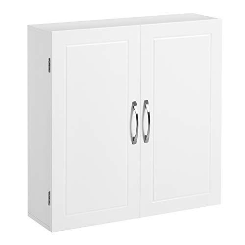 VASAGLE Badezimmerschrank, Wandschrank, Aufbewahrungsschrank mit 2 Türen, mit 2 verstellbaren Regalebenen, 60 x 18 x 60 cm, skandinavischer Stil, mattweiß BBC320W01