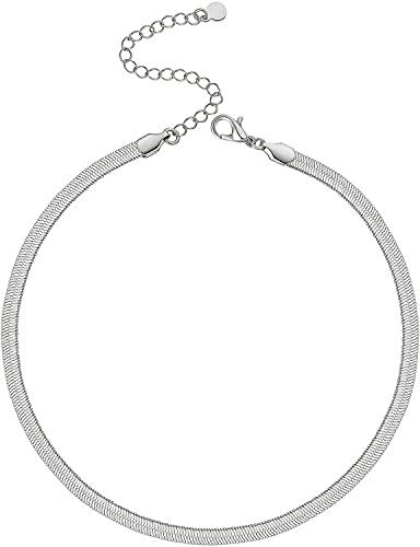 LIHELEI Collar Mujer, Plata de Ley 925 Cadena Gargantilla Hombre con para Regalo San Valentín-Oro