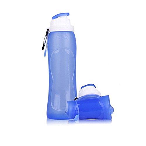 Bouteille d'eau pliable en silicone de qualité alimentaire, idéale pour la randonnée, le vélo, le pique-nique et le sport (bleu)