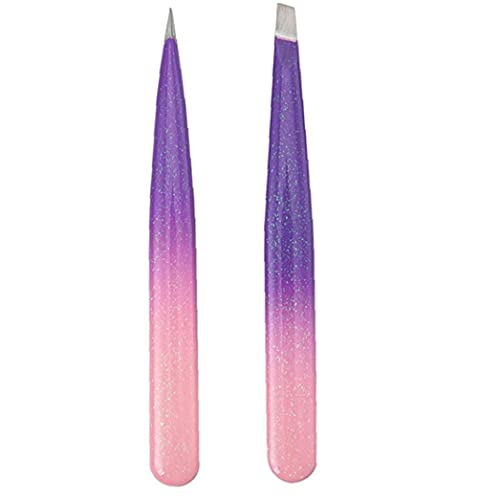 Pinzas de la ceja Conjunto de Acero Inoxidable inclinación acentuada Pinzas de depilación 2 envases Pinzas