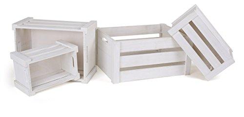 Houten kist wit in 4-delige set, als decoratieve of transportmogelijkheid, universeel inzetbaar