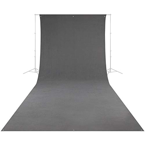 Westcott Wrinkle-Resistant Photography and Video Backdrop - Neutral Gray (9' x 20') with Grommets and Pole Pocket for Easy Hanging. Includes Carry Case