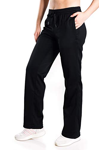 """Yogipace Petite Women's Water Resistant Thermal Fleece Pants Winter Lounge Running Sweatpants with Pockets,29"""",Black, M"""