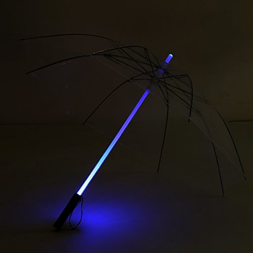 Alinory LED Lightsaber Umbrella, Light up Golf Umbrellas with 7 Color Changing On The Shaft Flashlight Umbrella for Safely Night Walking(Transparent)