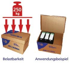 """10 Stk. Archivbox 400x320x290mm, extrem stabil, bis 250kg stapelbar / Ausführung: Braun mit Beschriftung """"Archivbox"""" - 4"""