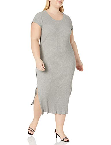 Skinnygirl Women's Plus Size Boze Scoop Nneck Side Sporty Dress, Heather Gray - Black Stripe, 3X