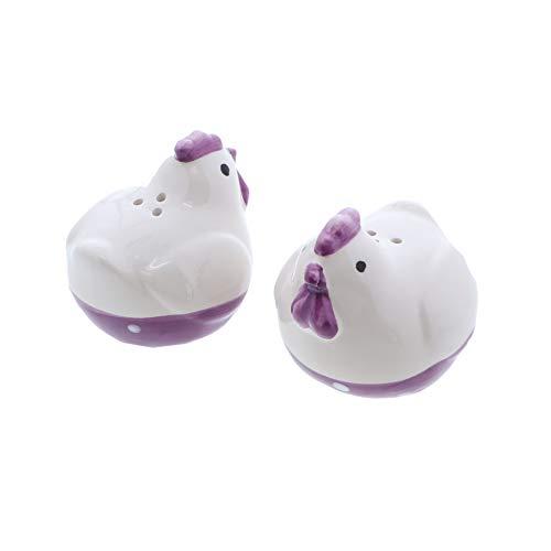 Saliera e pepiera polli galline galline arredamento saliera set Hen with Purple Beak