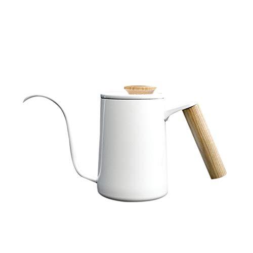 VANOLU 350 Ml de Acero Inoxidable Cafetera Tetera Cuello de Cisne Pico Tetera Herramientas de Barista (Blanco)