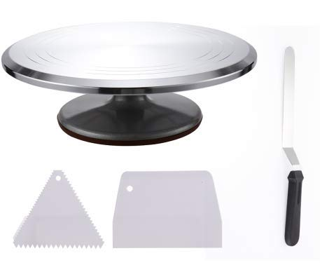12'' Cake Decoration Turntable with 1 Angled Icing Spatula 8 inches and 2 Icing Smoothers Aluminum Alloy Construction with Smooth Bearing and Non-Slipping Silicone Bottom