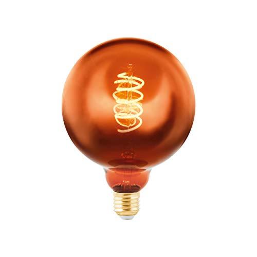 EGLO 11884 - Bombilla LED (E27, intensidad regulable, bombilla vintage de cobre, espiral LED, 4 W (equivalente a 15 W), 90 lúmenes, E27, luz blanca cálida, 2000 K, G125, diámetro de 12,5 cm)